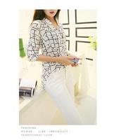 Retail!! Free shipping 2014 New fashion Shirts for Women Summer Women Long-sleeve Print Chiffon Shirts Fashion Slim Blouses