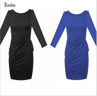 2014 Fashion Western Dress! Full Sleeve O-Neck Torsional Slim Brief Elegant A-Line Women Dresses NM500