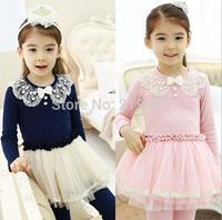 2014 Kids sweet lace gauze dress , dresses for girls ,girls clothing , 5pcs/lot   ZM03