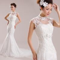 2014 elegant skintight lace fishtail wedding dress