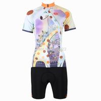 2014 New fashion Women's  Design Short Sleeve Cycling Jersey Shirt Set cycling clothing Bicycle Wear-S M L XL 2XL 3XL-Giraffe