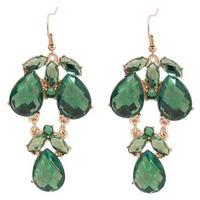Free Shipping Women Gold Tone Dark Green Crystal Rhinestone Pendant Earring