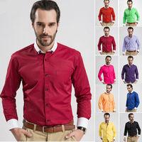 2014 New Men's Slim Dress Shirts Mans Cotton long sleeve solid Business Shirt Autumn Male Classic tops Clothing Plus size