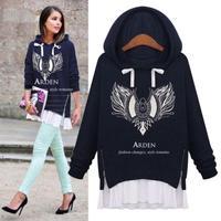 2014 European Patchwork Casual Sweatshirts Autumn Long Sleeve Printed Women Hoodies Sports Plus Size Cotton Tops 9267