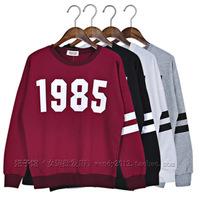 New 2014 Autumn Winter Korean Fashion High Quality Long Sleeved O-neck Number Printed Sweatshirt Tops girl t shirt women 838