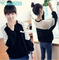 New 2014 Autumn Winter Korean Fashion Batwing Sleeve Loose Polka Dot  Long Sleeved O-neck Sweatshirt Tops girl t shirt women 803