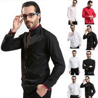 2014 New Fashion Men dress Shirts Casual Slim Long Sleeve Splice Polo shirt for men Male Spring Summer clothing