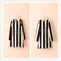 Top On Top wholesale new 2014 Autumn Fashion European and American style girl dress white/black vertical striped print Dress
