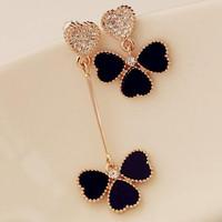2014 Free shipping accessories elegant stud earring asymmetrical four leaf grass female earrings fashion