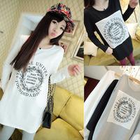 New 2014 Autumn Winter  Fashion Long Style  Loose Letter Print Pocket Long Sleeved O-neck Sweatshirt Tops girl t shirt women 805