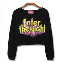 New 2014 Autumn Winter Fashion Long-Sleeved  Loose Casual 3D Letter Print  O-neck Short Sweatshirt Tops girl t shirt women 812