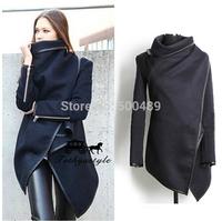 Free Shipping Casaco Feminino Inverno 2014 Women Desigual Leather Zipper Woollen Coat Vintage Winter Coats Wool Coat