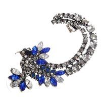 2014 Punk Style Clear&Blue Crystal Rhinestone Inlay Cuff Wrap Earring Fashion Girls Free Shipping