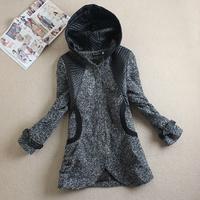 Free shipping 2014 autumn winter women new arrival patchwork with a hood slim woolen outerwear medium-long wool woolen overcoat
