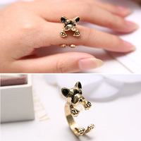 New Arrival Cute Dog Finger Ring Gold Metal Open Dog Rings For Women Free Shipping