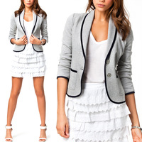 2014 New Fashion Women Blazer Short Turn Down Collar Slim Single Button Jacket Suit Short Coat Jackets Outwear Casual NS114
