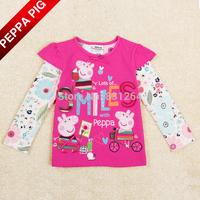 Free Shipping Nova Kids Girl Long Sleeve T shirt Peppa Pig Clothing Peppa Pig Shirt for Girls 2-6 Years Children Clothes