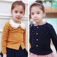 autumn/winter 2014 brand casual children sweater flower cake hem baby coat cardigan for girls sweaters cardigans