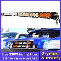 "AWD 27X10W 48.5"" Off-Road Flood Spot Beam combo 270W 12V/24V headLight Bar Cree LED Work Light Amber White 4X4 Truck Car 4WD SUV"