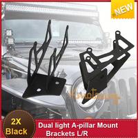 2X Dual LED Driving Light A-Pillar Bracket Mount Windshield Brackets System Kit