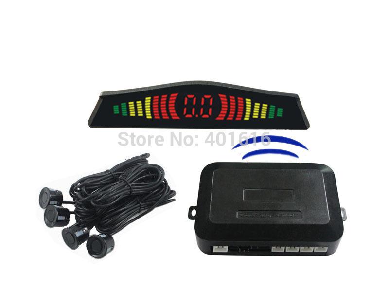 Free shipping wireless LED parking sensor,parking assistance,car LED Parking Reverse Radar with 4 Sensors,3 color sensors(China (Mainland))
