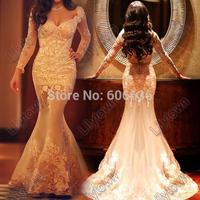 Custom Made Square Long Sleeves Transparent Tulle Lace Mermaid Saudi Arabia Wedding Dresses Celebrity Bridal Dresses
