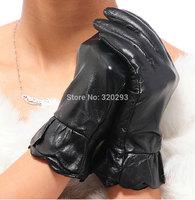 Fashion Cute Women 2-Flounced Autumn  gloves  Genuine Lamb Leather Gloves