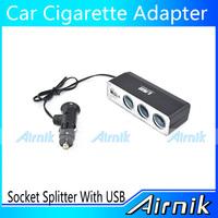 Car Cigarette Lighter Adapter 3 Way Cigarette Lighter Socket Splitter With USB