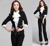 New Uniform Design 2014 Spring Autumn Professional Business Work Wear Fashion Slim Women Suits Tops And Pants Office Pantsuits