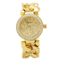 Promotion Fashion Casual 2014 Watch Women Rhinestone Watch Fashion Full Steel Gold Quartz wrist watches Gift