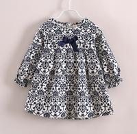 6pcs/lot New 2014 baby girls fashion bow cute casual princess dress children kids spring autumn clothes C021 yE021612