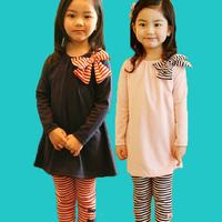 Children's clothing  girls clothing Female bab female child clothes autumn 2014 autumn set 100% cotton bow