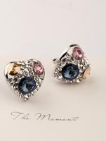 exquisite zircon rhinestone Earrings ,sweet heart stud earring ,obi Women fashion earrings, accessories