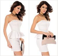 Charming New Sexy Fashion Rivet  Embellishment  Flouncing Slim Thin Package Hip Dress  Free Shipping