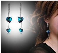 Fashion jewelry Crystal love Tassel earrings  E340  B12
