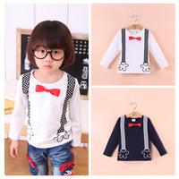 2014 new autumn fall children's clothing cartoon bow tie printed long sleeve boys cotton t-shirt 3T-10