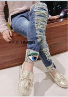 New 2014 baby girls Top quality washed janes children fashion big eyes pant for autumn A133