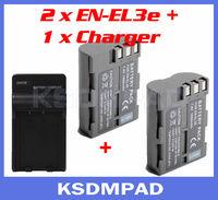 2 pcs lithium battery + battery akku charger 1500mAH EN-EL3e EN EL3e for Nikon D100 D200 D300 D700 D70S D80 D90 D300s SLR