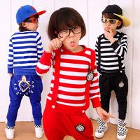 2014 new fall autumn children's clothing boys girls long-sleeved kids striped watch clock suit set 3T-10