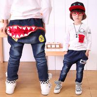 2014 new autumn fall children's clothing boys girls kids cartoon shark pants jeans 3T-10