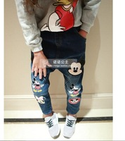 New 2014 Korean style children girls mickey cartoon jeans kids fashion printed pants for autumn winter A133