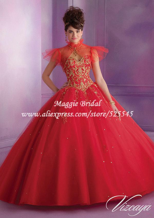 Dresses red with jacket mj089 vestido de 15 anos china mainland