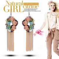 YTEH30 Luxury CZ Crystal Flower Unique Earrings Jewelry Tassel Bohemia Drop Dangle Earrings Wedding Statement For Women Brincos