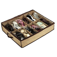 A24 Free shipping 12 Pair Shoes Storage Organizer Holder Shoe Organiser Bag Box Under Bed Closet IA818 P(China (Mainland))