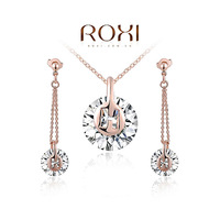 2014 New Top Fashion Roxi Classic Women Crystal Tin Alloy Necklace/earrings Jewelry Sets Original Design Freeshipping