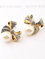 Earrings sparkling zircon bow stud earring pearl elegant Women accessories new arrival