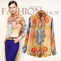 2014 women's orange fashion autumn turn-down collar print shirt  Bl2379