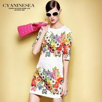 2014 autumn women's fashion fifth sleeve o-neck slim print dress
