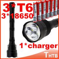 TrustFire 3T6 3800 lumens flashlight 3 x CREE XM-L T6 5-Mode 3 * Cree LED Flashlight Torch Lamp shocker +3x18650 battery+charger
