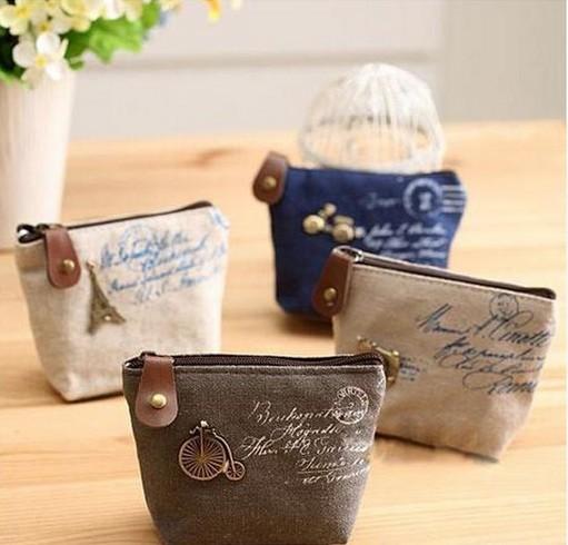 New Vintage Zipper Coin Purse Mini bag Women Cheap Casual Sackcloth Coin Bags For Women Fashion